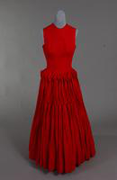 Red damask evening gown from the 1950s