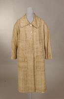 Women's beige, linen-look spring coat from the 1950s or 60s