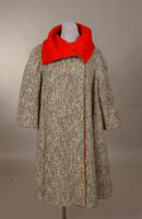 Women's black and white wool tweed coat from the 1950s or 60s