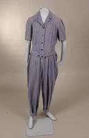 Women's light blue denim coveralls from the 1940s