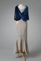 Silver Tissue Evening Gown with Cape, 1933