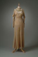 Silk Velvet Evening Gown with Rhinestone Clasp, 1933