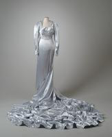 Beaded Ice Blue Satin Wedding Gown with Scalloped Train, 1938