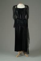 Black Satin Two-Piece Party Dress, 1945