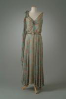 Print Chiffon Party Dress with Shoulder Bow Accent, 1934