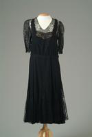 Crepe Party Dress Accented with Black Lace, 1948