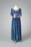 Velvet Winter Party Dress with Pleated Chiffon Accents, 1931