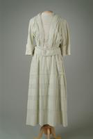 Check Cotton Day Dress with Lace Trim, 1917