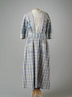 Plaid Cotton Day Dress with Embroidered Trim, 1917