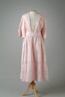 Cotton Check Day Dress with Embroidered Trim, 1917