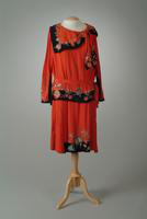 Two Piece Silk Crepe Day Dress with Bandeau Collar, 1926