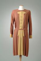 Crepe Day Dress with Crepe Accents on Front and Cuffs, 1945