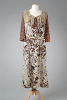 Print Silk Crepe Day Dress with Lace Collar, 1933