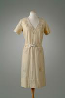 Wool Day Dress with Embroidered Chiffon and Lace Collar, 1924