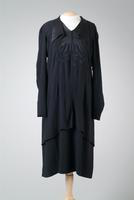 Crepe Day Dress Accented with Satin Collar, Yoke, and Buttons, 1938