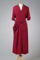 Day Dress with Cuffed Sleeves and Covered Buttons on Hip, 1938