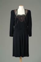 Crepe Day Dress with Lace and Chiffon at Neckline, 1939