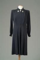 Wool Knit Day Dress with Silver Grape Leaf Accents at Collar and Cuffs, 1943