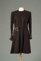 Wool Day Dress with Beaded Belt Buckle and Cuffs, 1940