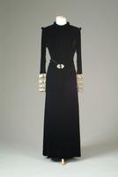 Velvet Dinner Dress with Large Cuffs of Wool Yarn and Rhinestones, 1938