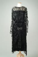 Satin Dinner Dress with Lace Overlay and Rhinestone Buckle, 1925