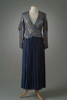 Velvet Dinner Dress with Loose Surplice Brocade Top, 1935
