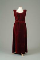 Velvet Dinner Dress with Ostrich Feather Motif, 1938