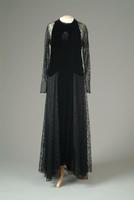 Lace Dinner Dress with Velvet Front Panel and Halter Style Top, 1937