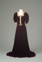 Velvet Dinner Dress with Lace Collar and Cuffs, 1938