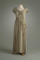 Brocade Dinner Dress with Hip Sash, 1939