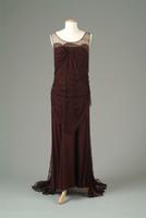 Sleeveless Crepe Dinner Dress with Lace Overlay, 1937