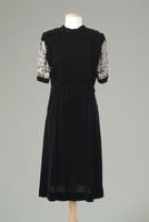 Velvet Dinner Dress with Heavily Beaded Sleeves, 1942