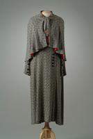 Two-Piece SIlk Tweed Suit Consisting of Dress and Cape, 1935