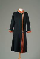 Wool Coat with Metallic Accent, Lined in Red Crepe, 1924