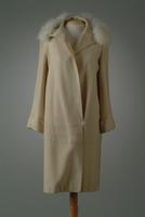 Wool Day Coat with Fox Collar and Single Button Closure at Hip, 1927
