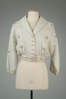 White Striped Crepe Jacket, with Embroidered Trim, 1936