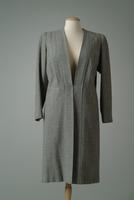 Collarless Lightweight Wool Tweed Day Coat, 1948