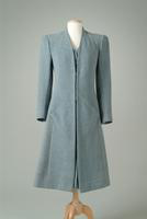 Collarless Wool Felt Day Coat with Checked Underfront, 1940