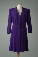Collarless Wool Crepe Day Coat with Matching Belt, 1946