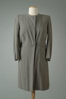 Collarless Wool Day Coat with Single Button Closure, 1942