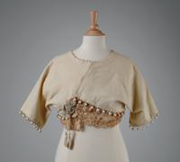 Child's Wool Jacket with Lace and Corded Flower at Side Closure, 1921