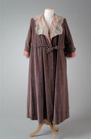 Velvet Evening Coat with Taffeta Ruffles and Lace Cuffs, 1919