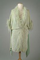Brocade Silk Velvet Evening Coat with Ostrich Feather Accents, 1923