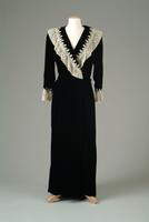 Silk Velvet Dressing Gown with Lace Trim, 1938