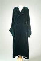 Silk Velvet Evening Coat with Shirred Velvet Cuffs, 1935