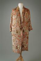 Silk Velvet Brocade Evening Coat with Kimono Style Collar, 1927