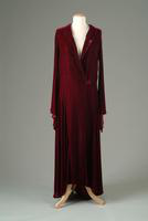 Unlined Silk Velvet Evening Coat with Flared Cuffs, 1931