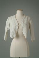 Embroidered Linen Bed jacket with Scalloped Edging, 1920