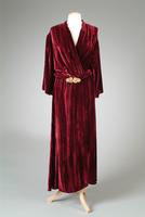 Striped Silk Velvet Dressing Robe with Gold and Pearl Clasp, 1933