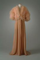 Velvet Dressing Robe with Marabou and Ostrich Feathers on Bodice, 1934